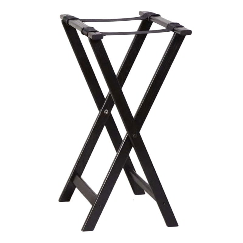 American Metalcraft WTSB33 Folding Tray Stand w/ Nylon Straps, Black Wood