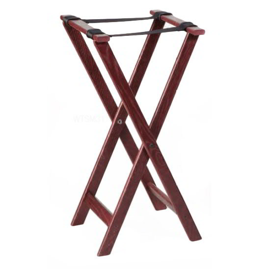 American Metalcraft WTSM31 31-in Folding Tray Stand w/ Nylon Strap, Mahogany