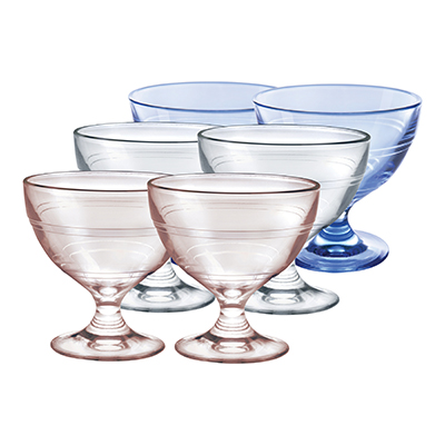 Duralex 5002MB06 8.75-oz Gigogne Ice Cream Cup w/ 2-Pink Cups, 2-Blue Cups & 2-Clear Cups, Glass