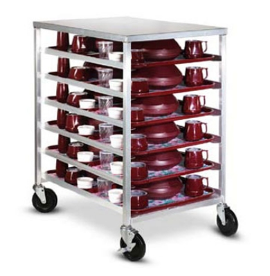Dinex DXDHOR12U Universal Room Service Cart w/ 1-Compartment, 12 Tray, Angle Slides