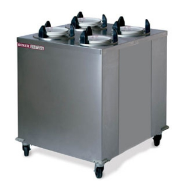 "Dinex DXIDPH4E1012 10-1/8"" Mobile Enclosed Heated Plate Dispenser w/ 4-Tube Frame"