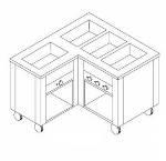Dinex DXDHF3LL 240 49-in Left L-Shape Hot Food Counter w/ 3-Wells, Open Base, 240 V