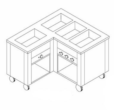 Dinex DXDHF3LL 208 49-in Left L-Shape Hot Food Counter w/ 3-Wells, Open Base, 208 V