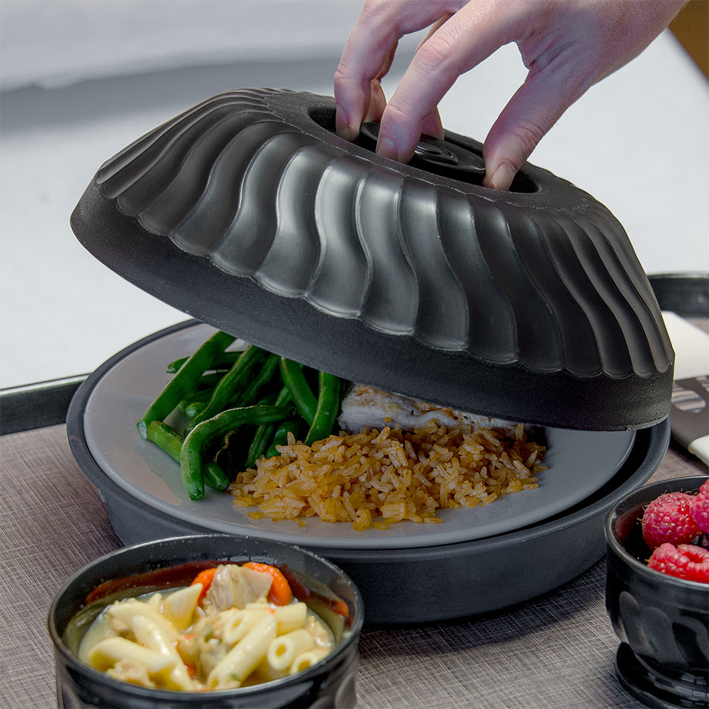 """Dinex DX340003 Turnbury Insulated Dome for 9"""" Plates - Onyx"""