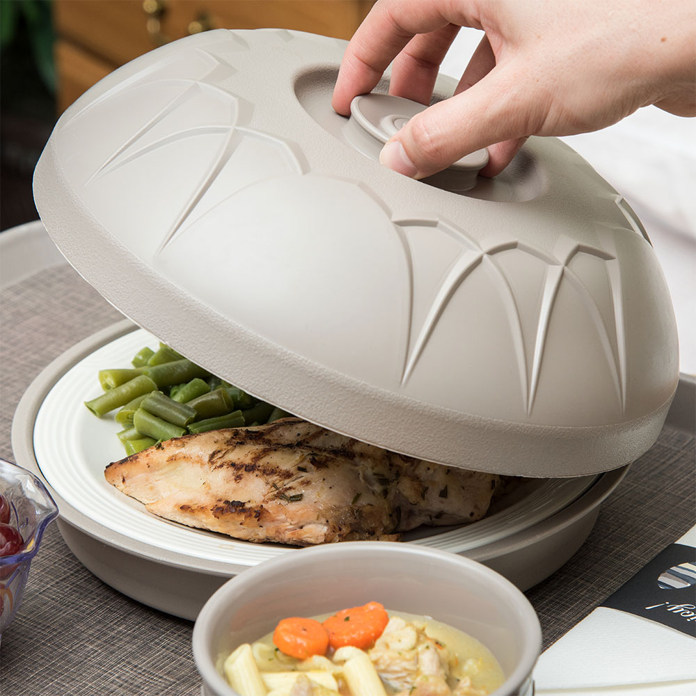 """Dinex DX5400-31 Fenwick Insulated Dome for 9"""" Plates - Latte"""