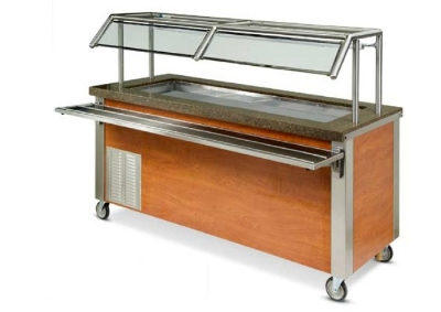 "Dinex DXDCF57 77"" Refrigerated Cold Food Counter for (5) 12 x 20 x 9-7/16"", 120 V"