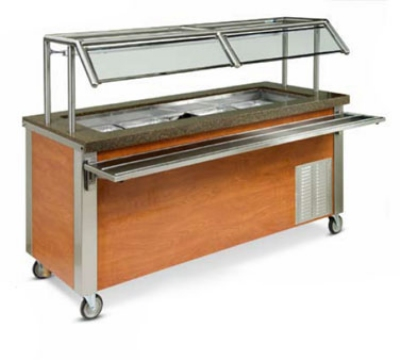 Dinex DXDHC3 3-Well Mobile Hot Cold Serving Counter w/ Wet Or Dry Operation, 120 V