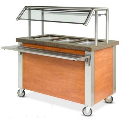 "Dinex DXDHF6 208 91"" Hot Food Counter w/ 6-Wells, Thermostatic, Open Base, 208 V"
