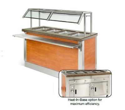 "Dinex DXDHF2HIB 35"" Hot Food Counter w/ 2-Wells, Thermostatic, Heated Base, 208 V"