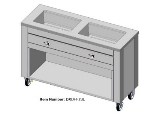 "Dinex DXDHF3SL 208 76.4"" Slim Hot Food counter w/ 3-Wells, Thermostatic, Open Base, 208V"