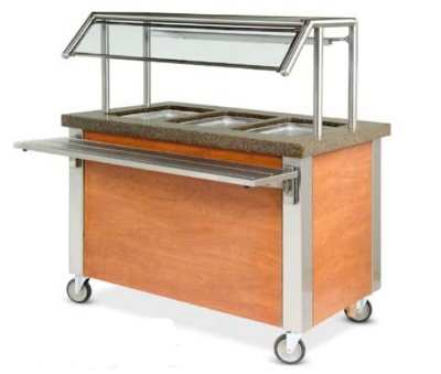 Dinex DXDHF3 240 49-in Hot Food Counter w/ 3-Wells, Thermostatic Controls, Open Base, 240 V