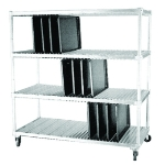 "Dinex DXIDTDR3 3-Shelf Open Tray Drying Rack, 63.75 x 29 x 74.5"", Aluminum"