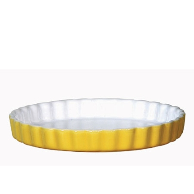 Emile Henry 036000 EA Ceramic Quiche Dish, 11-in Round, Two-Tone, Citron Yellow