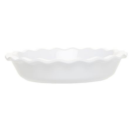 Emile Henry 056131 1-2/5 qt Ceramic Pie Dish, 9 in Diameter, Blanc White