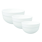 Emile Henry 056529/3 Ceramic Mixing Bowl Set, Includes Three Sizes, Two-Tone, Blanc White