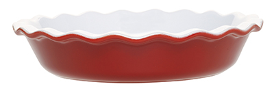 Emile Henry 336131 1-2/5 qt Ceramic Pie Dish, 9 in Diameter, Two-Tone, Cerise Red