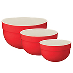 Emile Henry 336529/3 Ceramic Mixing Bowl Set, Includes Three Sizes, Two-Tone, Cerise Red