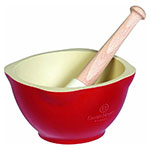 "Emile Henry 340255 Ceramic Mortar & 5.5"" Pestle w/ 20-oz Capacity, Burgundy"