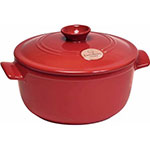 "Emile Henry 344525 9"" Round Ceramic Stewpot w/ 2.6-qt Capacity, Lid, Burgundy"