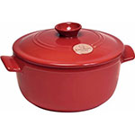 "Emile Henry 344540 10"" Round Ceramic Stewpot w/ 4.2-qt Capacity, Lid, Burgundy"
