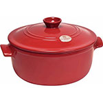 "Emile Henry 344553 11.2"" Round Ceramic Stewpot w/ 5.5-qt Capacity, Lid, Burgundy"