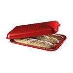 "Emile Henry 345506 Ceramic Baguette Baker w/ Lid, 15.5x9.5"", Burgundy"