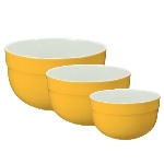 Emile Henry 036529/3 Ceramic Mixing Bowl Set, Includes Three Sizes, Two-Tone, Citron Yellow