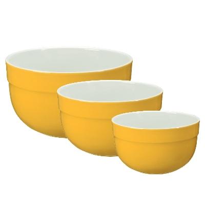 Emile Henry 036529/3 Ceramic Mixing Bowl Set, Includes Three Sizes, Two-Tone, Citron Yellow