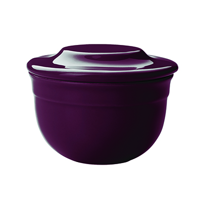 Emile Henry 378621 EA Ceramic Butter Pot With Lid, 4-in Round, Figue Purple