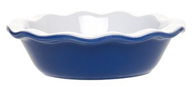 Emile Henry 536132 EA Ceramic Individual Pie Dish, 5.5 Round, Two-Tone, Azure Blue