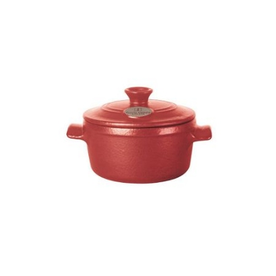 Emile Henry 614503 EA 8 oz Ceramic Flame Top Round Mini Stew Pot With Lid, Red