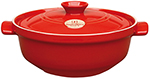Emile Henry 614573 2-1/2 qt Ceramic Flame Top Cassoulet Pot With Lid, Red