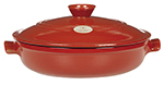 Emile Henry 614593 3-2/5 qt Ceramic Flame Top Braiser With Lid, 11 in Diameter, Red