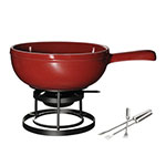 Emile Henry 619922 2.6-qt Fondue Pot Set - Ceramic, Rouge
