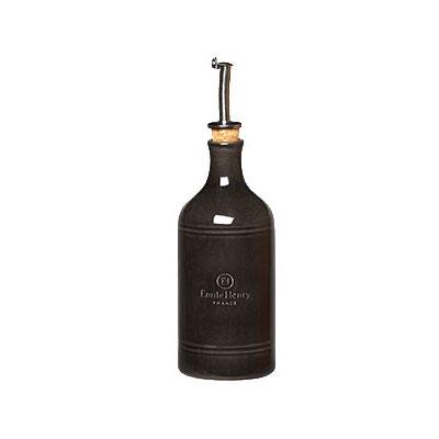 "Emile Henry 790215 7"" Ceramic Oil Cruet w/ 14-oz Capacity, Charcoal"