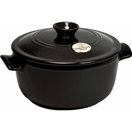 "Emile Henry 794525 9"" Round Ceramic Stewpot w/ 2.6-qt Capacity, Lid, Charcoal"