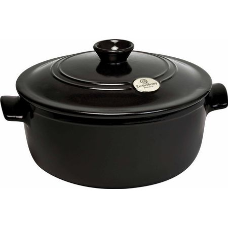 "Emile Henry 794570 11.8"" Round Ceramic Stewpot w/ 7-qt Capacity, Lid, Charcoal"