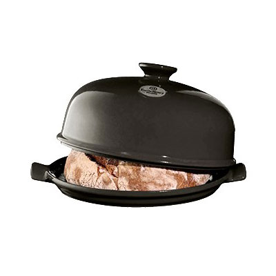 "Emile Henry 795508 13"" Round Ceramic Bread Cloche w/ Domed Lid, Charcoal"