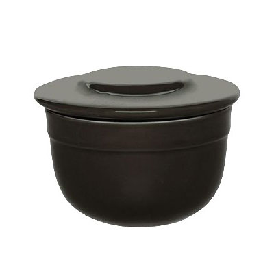 "Emile Henry 798621 4"" Round Ceramic Butter Pot w/ 7-oz Capacity, Charcoal"