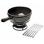 Emile Henry 799922 Cheese Fondue Set w/ 2.6-qt Pot, Burner, Stand & (6) Forks, Charcoal
