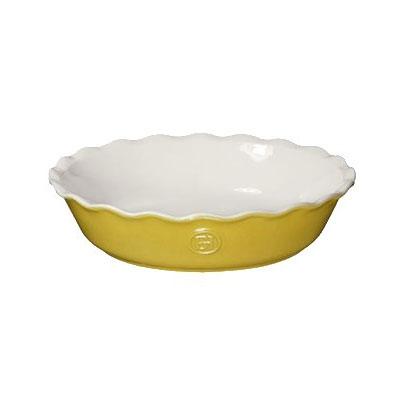 "Emile Henry 856121 9"" Round Ceramic Pie Dish w/ 1.7-qt Capacity, Leaves"