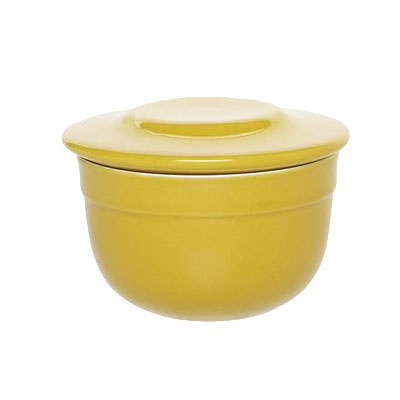 "Emile Henry 858621 4"" Round Ceramic Butter Pot w/ 7-oz Capacity, Leaves"