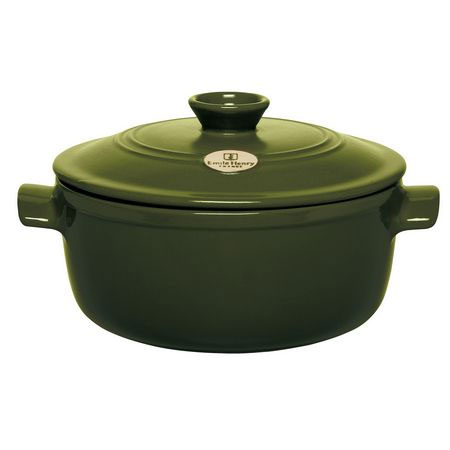 Emile Henry 87 45 40 4.2-qt Round Ceramic Flame Top Stew Pot w/ Lid, Olive