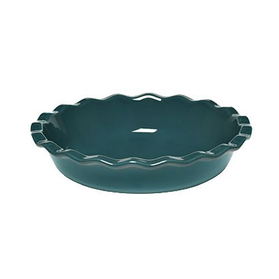 "Emile Henry 976131 9"" Round Ceramic Pie Dish w/ 1.4-qt Capacity, Blue Flame"