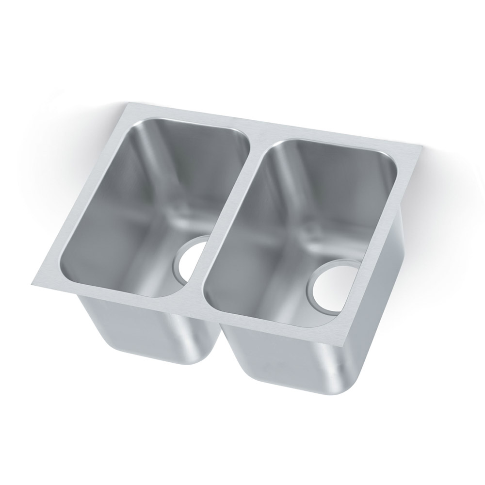 Vollrath 10102-1 Weld-In Undermount Sink, 2 Compartments, Square Corners