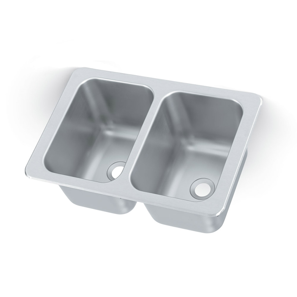 "Vollrath 102-1-2 2-Compartment Drop-In Sink w/ 2"" Drain, Stainless"