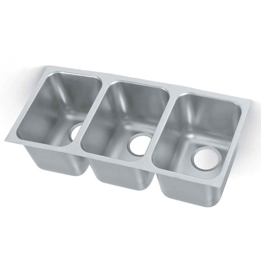 Vollrath 121031 3-Compartment Institutional Weld-In Undermount Sink w/ Square Corners