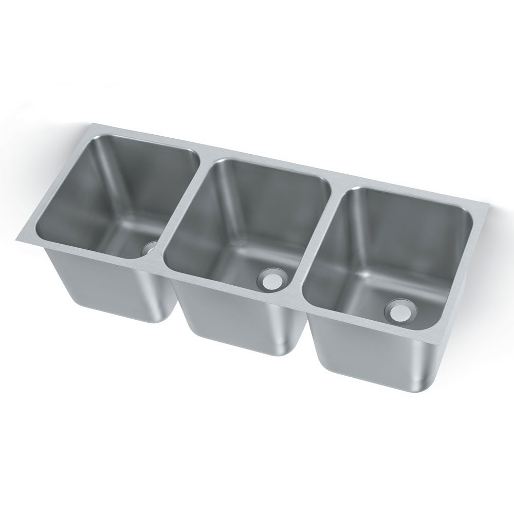 "Vollrath 12123-2 3-Compartment Heavy Duty Stainless Weld-In Undermount Sink w/ Square Corners, 2"" Drain"