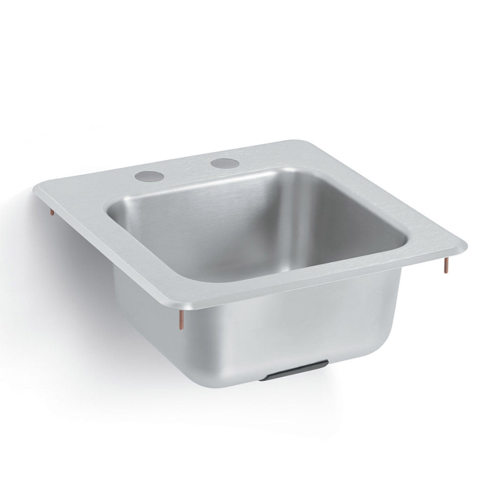 Vollrath 155-4 Bar or Waitress Self-Rimming Drop-In Sink, 1 Compartment, Ledgeback
