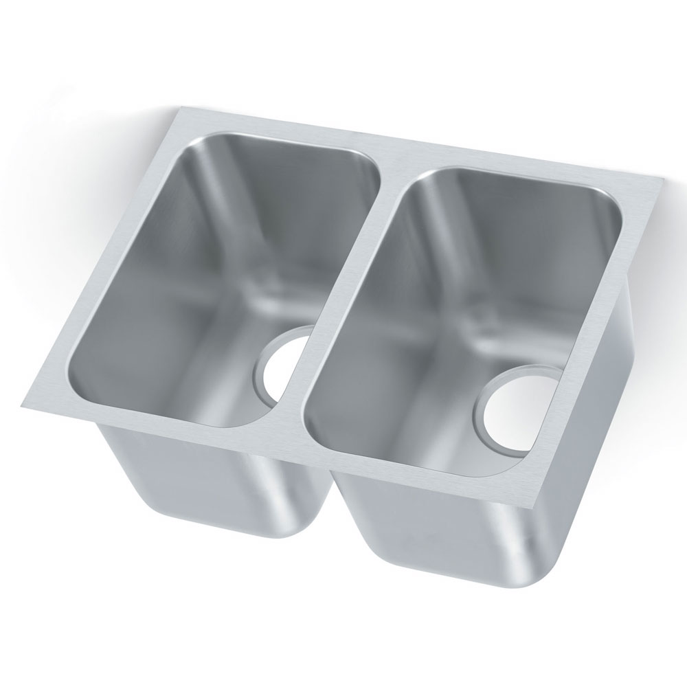 Vollrath 9102-1 2-Compartment Super Heavy Weight Weld-In Undermount Sink w/ Square Corners